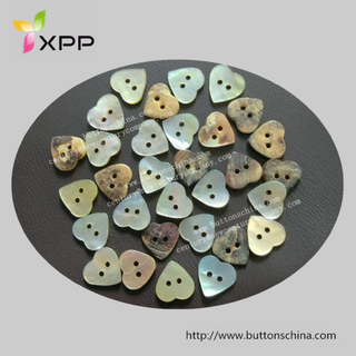 2 Hole Heart Shape Agoya Shell Button