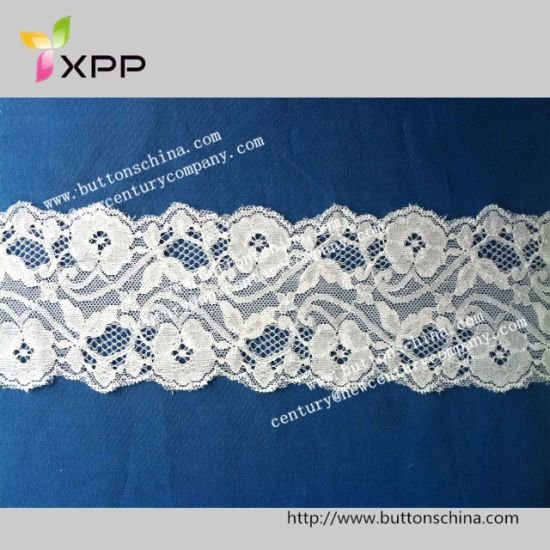 Hot Sale Jacquard White Nylon Stretch Elastic Lace